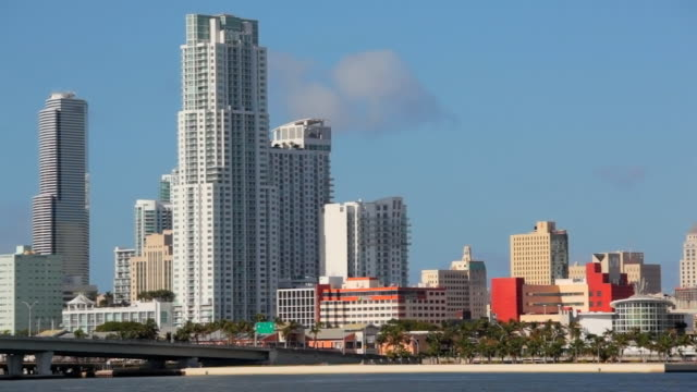 miami downtown close up - macarthur causeway bridge stock videos and b-roll footage