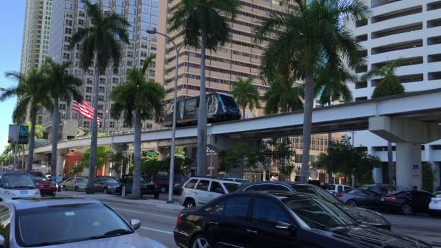 miami downtown, florida - monorail stock videos & royalty-free footage