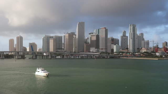miami florida daytime skyline - biscayne bay stock videos and b-roll footage