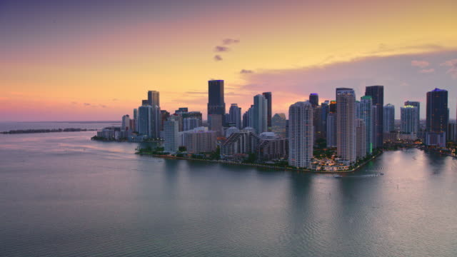 aerial miami from the biscayne bay at sunset - twilight stock videos & royalty-free footage