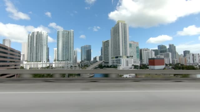 miami highway xiv synced series right view driving process plate - passenger point of view stock videos & royalty-free footage
