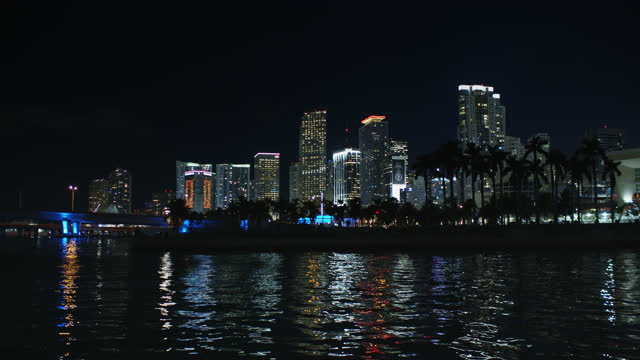 miami skyline at night - miami dade county stock videos & royalty-free footage