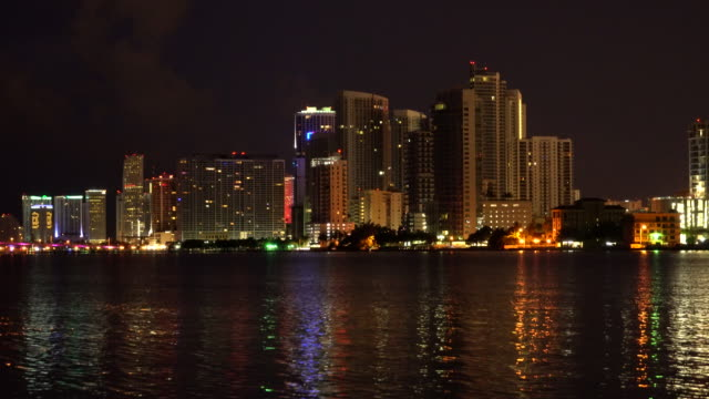 miami skyline at night - waterfront stock videos & royalty-free footage