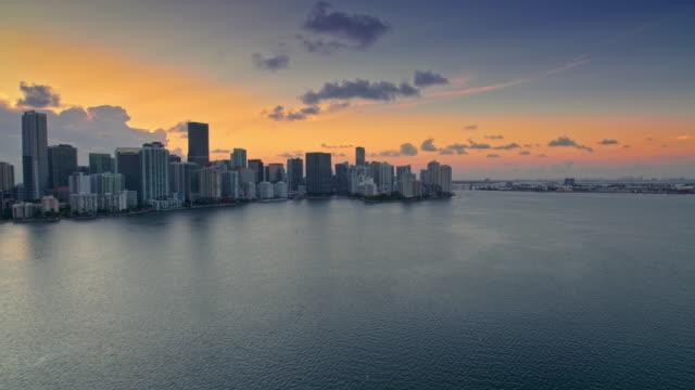 aerial miami skyline at sunset - miami stock videos & royalty-free footage