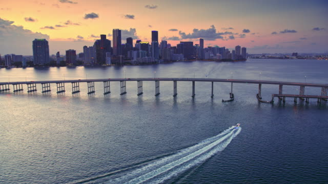 aerial miami skyline in setting sun - miami stock videos & royalty-free footage
