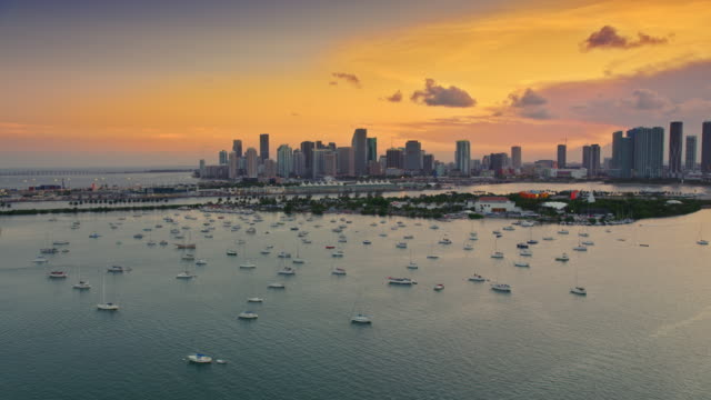 aerial miami skyline in the setting sun - stabilized shot stock videos & royalty-free footage