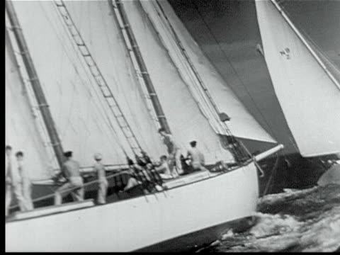 1948 b/w montage miami to nassau sailing yacht race. large sailboats under sail plunging into water w/ crews on deck / florida, usa - regatta stock-videos und b-roll-filmmaterial