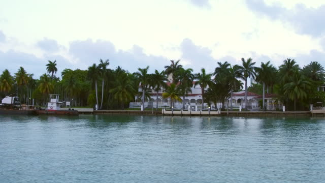 miami, united states: boat tour point of view of the rich and famous houses on star island. the tourist attraction depart from bayside and takes you to the biscayne bay for about ninety minutes - biscayne bay stock videos and b-roll footage