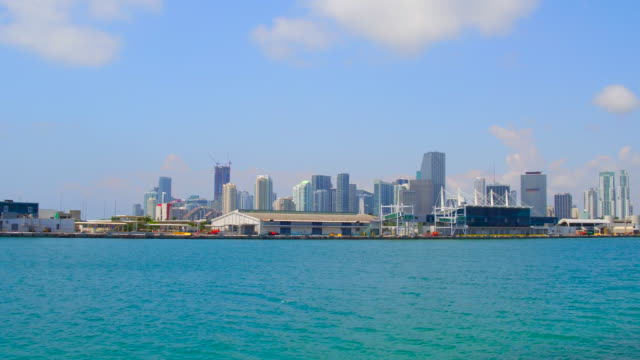Miami, United States: City urban skyline and the waters of the Biscayne Bay, 50mm focal length