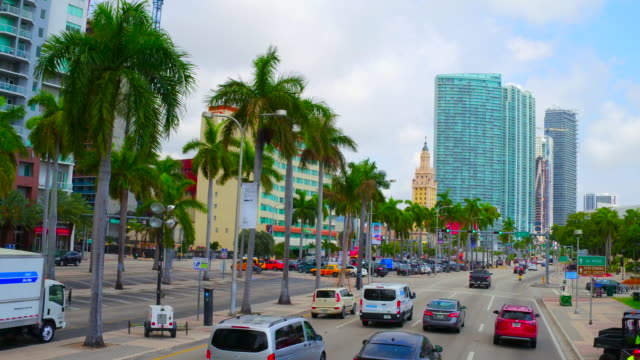 Miami, United States: driving in the city avenues, point of view from inside a car