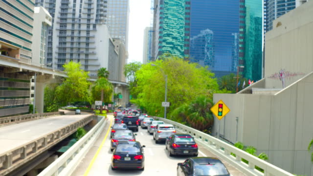 Miami, United States: The downtown district, point of view from a tourist bus