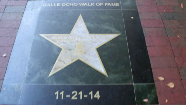 Miami, USA: Calle Ocho Walk of Fame, point of view image in the daytime
