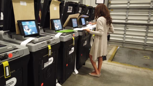 miami-dade election workers test voting machines for accuracy at the miami-dade election department headquarters on october 14, 2020 in doral,... - machinery stock videos & royalty-free footage