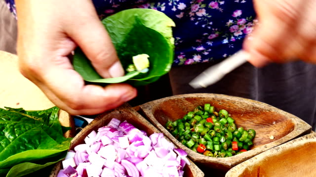 Miang Kum (Leaf-Wrapped Bite-Size Appetizer) Thai food.