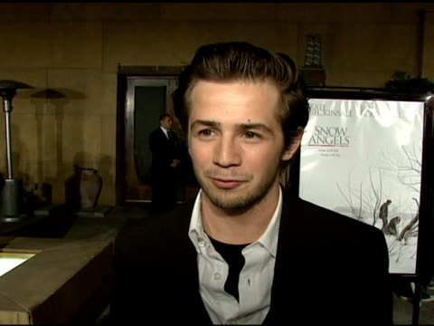 michael angarano on his character how he describes the movie and the most challenging aspects of his role at the 'snow angels' premiere at grauman's... - grauman's egyptian theatre stock videos & royalty-free footage