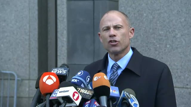 michael avenatti making a statement after a hearing regarding the raid of donald trump's attorney, michael cohen, and the information obtained during... - connection in process stock-videos und b-roll-filmmaterial