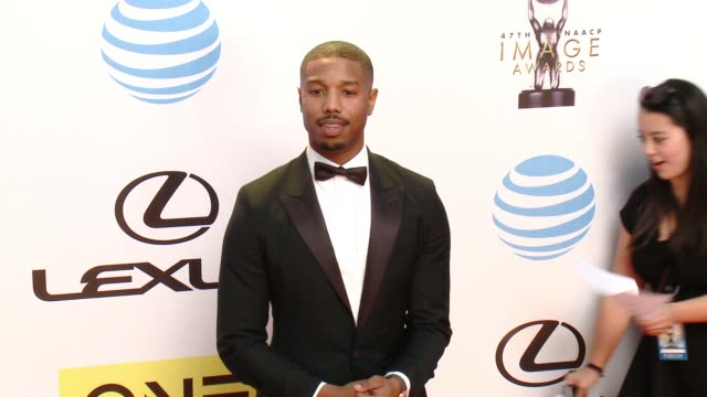 michael b jordan at 47th annual naacp image awards at pasadena civic auditorium on february 05 2016 in pasadena california - pasadena civic auditorium stock-videos und b-roll-filmmaterial