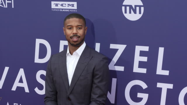 michael b. jordan at the 2019 afi life achievement award gala honoring denzel washington at dolby theatre on june 06, 2019 in hollywood, california. - fastknäppt skjorta bildbanksvideor och videomaterial från bakom kulisserna
