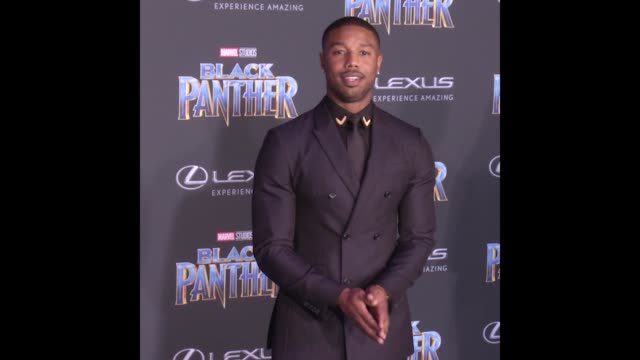 GIF Michael B Jordan at the Marvel Studios' 'Black Panther' World Premiere
