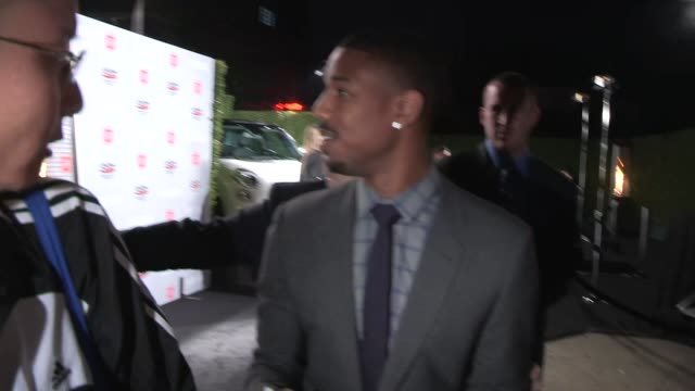 michael b jordan greeting fans at vanity fair and fiat's young hollywood party in hollywod celebrity sightings in los angeles on february 25 2014 in... - neckwear stock videos and b-roll footage