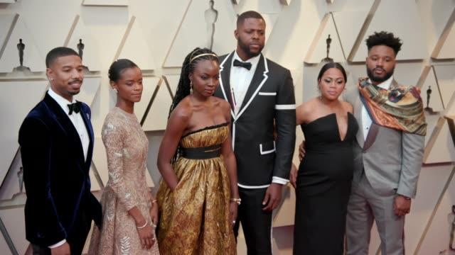 Michael B Jordan Letitia Wright Danai Gurira Winston Duke Zinzi Evans and Ryan Coogler at the 91st Academy Awards Arrivals at Dolby Theatre on...