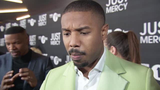 michael b. jordan on the emotion of the story, learning about bryan stevenson and the process of adapting the story to screen at vue leicester square... - anpassen stock-videos und b-roll-filmmaterial
