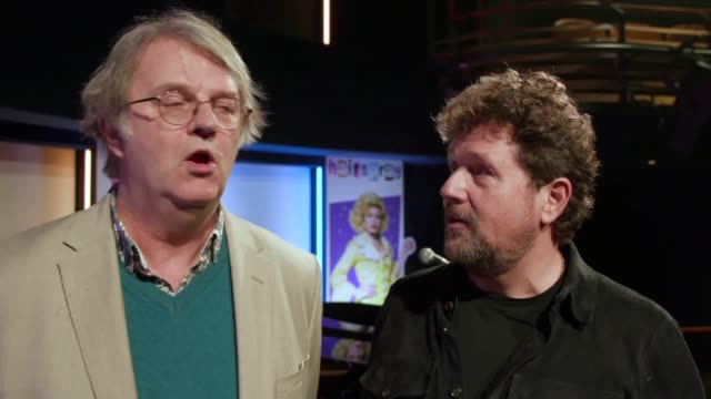 michael ball and paul merton speak to pa media about the new production of the musical hairspray, which sees ball reprise his role, in drag, as edna... - ポール・マートン点の映像素材/bロール
