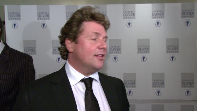 michael ball on the positive messages within hairspray at the the laurence olivier awards at the grosvenor house in london on march 9 2008 - michael ball bildbanksvideor och videomaterial från bakom kulisserna
