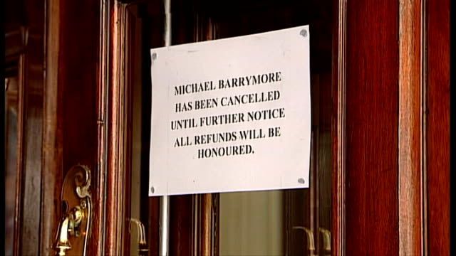 michael barrymore arested after road accident; r20010401 london: ext notice on door of wyndhams theatre saying that michael barrymore show has been... - michael barrymore stock videos & royalty-free footage