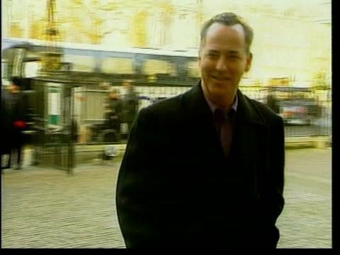michael barrymore recieves police caution; lib westminster: barrymore arriving at westminster abbey lib royal albert hall: int barrymore posing for... - michael barrymore stock-videos und b-roll-filmmaterial
