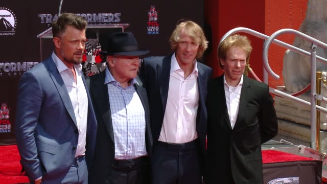 Michael Bay Anthony Hopkins Josh Duhamel and Jerry Bruckheimer at TCL Chinese Theatre on May 23 2017 in Hollywood California