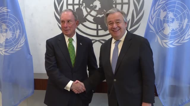 michael bloomberg meets with united nations secretarygeneral antonio guterres at the un headquarters on march 5 2018 in new york usa un... - mayor stock videos & royalty-free footage