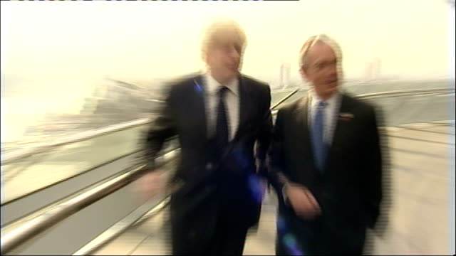 michael bloomberg visits new london mayor boris johnson photo op and presents exchanged england london city hall photography*** media waiting on... - mayor stock videos and b-roll footage