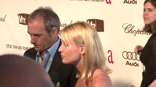 Michael Bolton and Nicollette Sheridan interviewed by the press at the 14th Annual Elton John AIDS Foundation Oscar Party Cohosted by Audi Chopard...