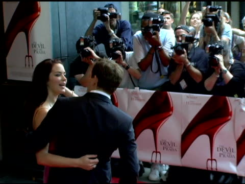 michael buble and emily blunt at the 'the devil wears prada' new york premiere at amc loews lincoln square in new york new york on june 19 2006 - the devil wears prada film title stock videos and b-roll footage