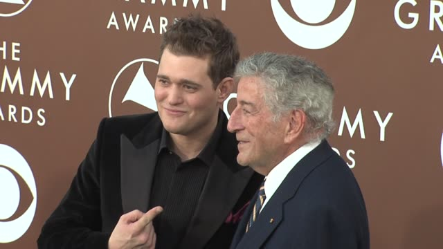 Michael Buble and Tony Bennet at the 2006 Grammy Awards arrivals at the Staples Center in Los Angeles California on February 8 2006