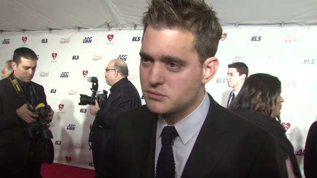 michael buble on the event, what neil diamond means to music at the musicaresr 2009 person of the year tribute at los angeles ca. - tribute event stock videos & royalty-free footage