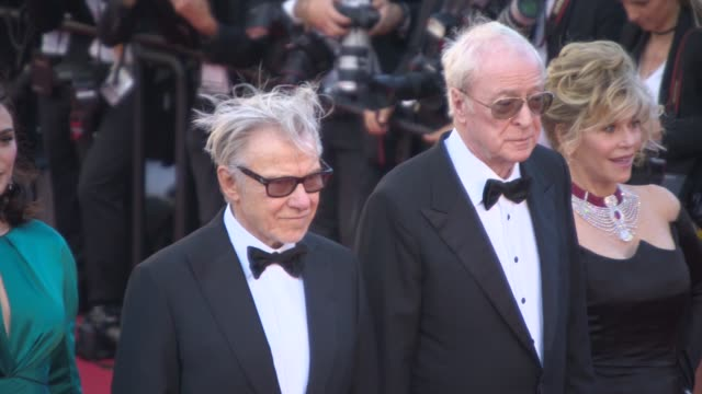 michael caine, rachel weisz, jane fonda, harvey keitel, paolo sorrentino, paul dano at 'youth' red carpet at palais des festivals on may 20, 2015 in... - ハーヴェイ カイテル点の映像素材/bロール