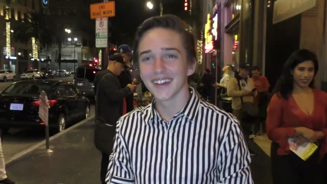 michael campion discusses fuller house dancing outside los angeles premiere of school of rock the musical at the pantages theater in hollywood in... - パンテージスシアター点の映像素材/bロール