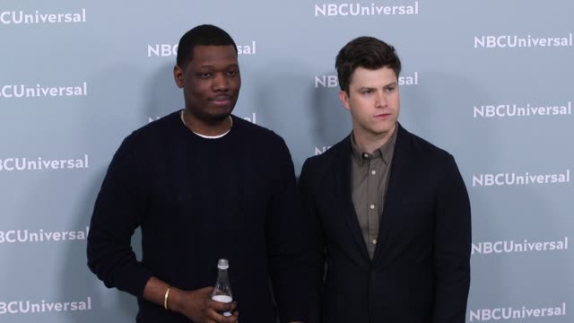 Michael Che and Colin Jost at the NBCUniversal's Upfront Presentation 2018 at Radio City Music Hall on May 14 2018 in New York City