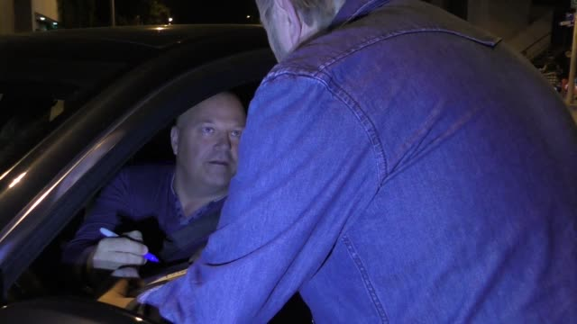 michael chiklis greets fans outside craig's restaurant in west hollywood in celebrity sightings in los angeles, - michael chiklis stock videos & royalty-free footage