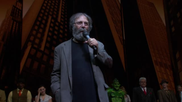 speech michael cohl on the start of turn off the dark and it's anniversary at bono and the edge celebrate the 1000th performance of spiderman turn... - david 'the edge' howell evans stock videos and b-roll footage