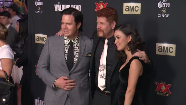 Michael Cudlitz and Christian Serratos at The Walking Dead Season 5 Los Angeles Premiere at AMC Universal City Walk on October 02 2014 in Universal...