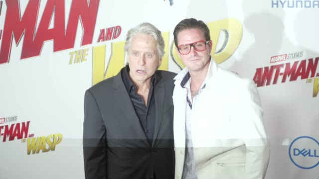 """michael douglas and cameron douglas at the """"ant-man and the wasp"""" world premiere at the el capitan theatre on june 25, 2018 in hollywood, california. - michael douglas stock videos & royalty-free footage"""