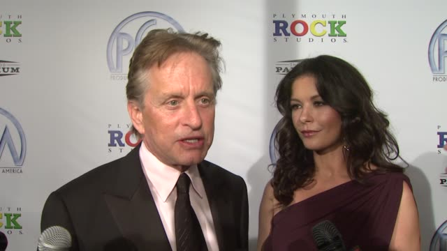 michael douglas and catherine zeta -jones on what it means to be honored with the david o. selznick award at the 20th annual producers guild awards... - michael douglas stock videos & royalty-free footage
