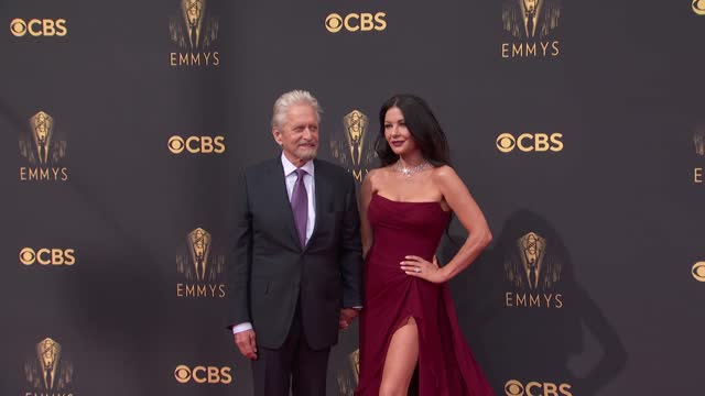 michael douglas and catherine zeta-jones arrive to the 73rd annual primetime emmy awards at l.a. live on september 19, 2021 in los angeles,... - emmy awards stock videos & royalty-free footage