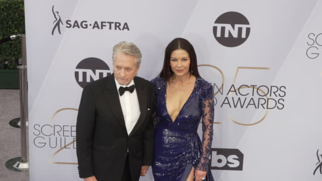 michael douglas and catherine zetajones at the 25th annual screen actors guild awards at the shrine auditorium on january 27 2019 in los angeles... - screen actors guild awards stock videos & royalty-free footage