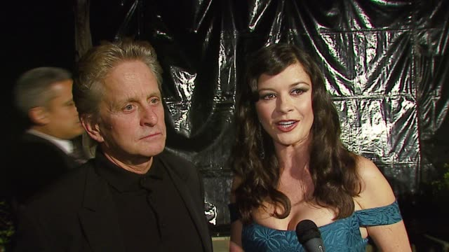 michael douglas and catherine zeta-jones on the first broadway shows they'd attended at the 'a fine romance' event celebrating the love affair... - michael douglas stock videos & royalty-free footage