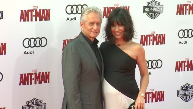 """michael douglas and evangeline lilly at the world premiere of marvel's """"ant-man"""" at dolby theatre on june 29, 2015 in hollywood, california. - michael douglas stock videos & royalty-free footage"""