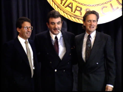 michael douglas and pose for photographs - friars roast 1993 stock videos and b-roll footage